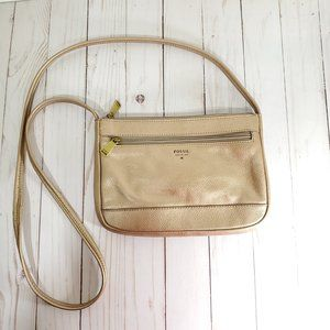 Metallic Fossil Cross Body Purse